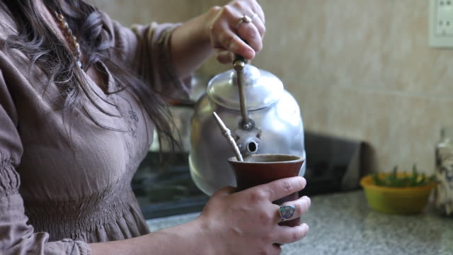 young woman prepares the national drink of argentina, the mate tea, and drinks it with a typical straw in a traditional calabash gourd. - yerba mate stock videos & royalty-free footage