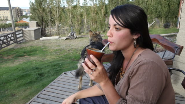 vídeos de stock e filmes b-roll de young woman prepares the national drink of argentina, the mate tea, and drinks it with a typical straw in a traditional calabash gourd in front of a... - lagenaria