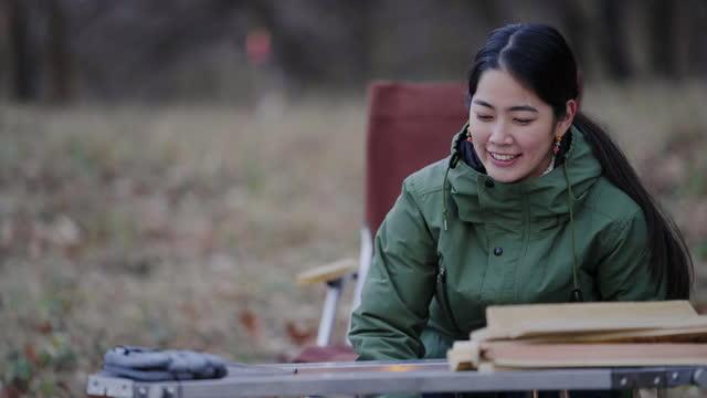 キャンプストーブを準備し、薪を使って火を作る若い女性 - ピクニック点の映像素材/bロール