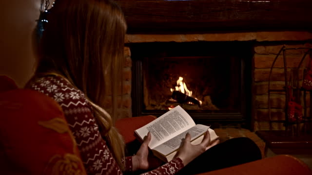 DS Young woman reading a book by the fireplace