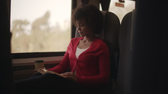ms young woman reading a book while on a train - passenger stock videos & royalty-free footage
