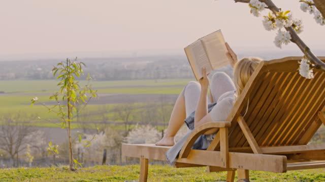 ws junge frau entspannenund lesen buch auf lounge-stuhl auf sonnigen, idyllischen hügel - sessel stock-videos und b-roll-filmmaterial