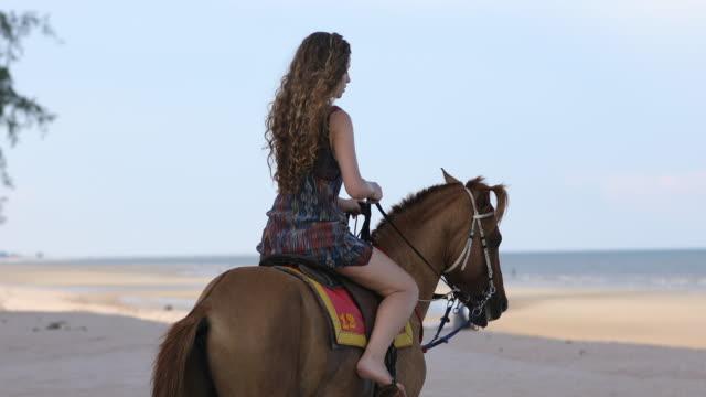 vídeos de stock, filmes e b-roll de jovem passeios a cavalo na beira-mar - cavalgar
