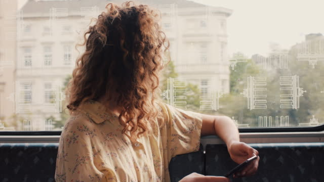 young woman riding train, looking at phone, out of window in berlin - eisenbahn stock-videos und b-roll-filmmaterial