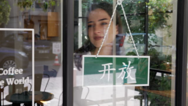 young woman running a chinese small business - chinese language stock videos & royalty-free footage