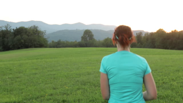 young woman running across a big meadow - guinzaglio per animale video stock e b–roll
