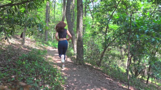 young woman running in forest - ridge stock videos & royalty-free footage