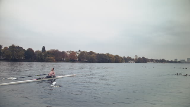 young woman sculling boat in river against sky - sculling stock videos & royalty-free footage