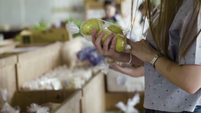 young woman shopping vegetable in fresh market - shopping basket stock videos and b-roll footage