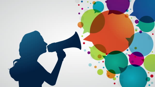 young woman shouting with megaphone - animation moving image stock videos & royalty-free footage