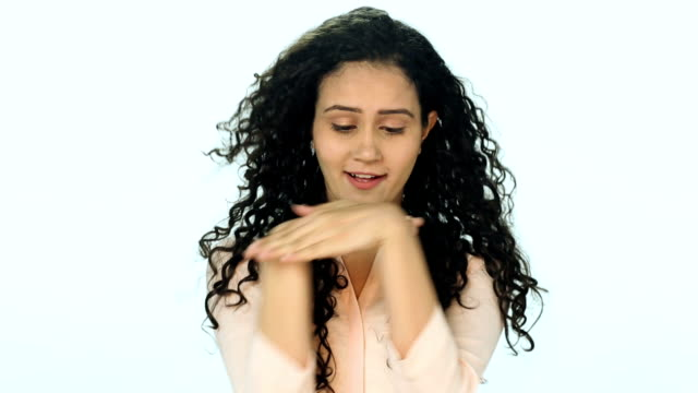 cu young woman showing sign language - hand sign stock videos & royalty-free footage