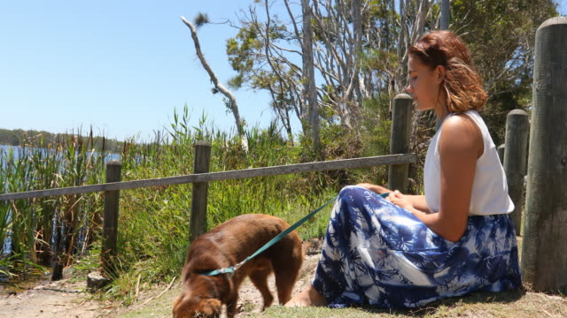 young woman sitting by a lake with her dog - pacific islanders stock videos & royalty-free footage