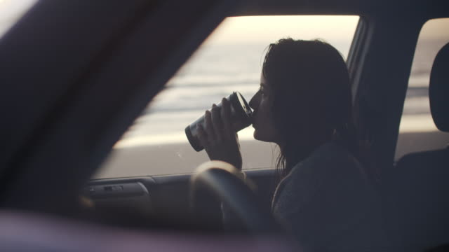vidéos et rushes de young woman sitting in a car by the beach - être à l'arrêt