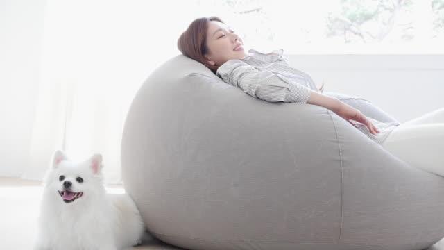 vídeos y material grabado en eventos de stock de a young woman sitting on a bean bag and her dog in living room - manos detrás de la cabeza