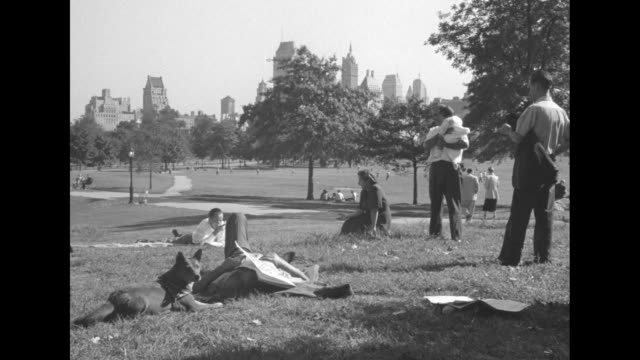 vidéos et rushes de young woman sitting on grass petting dog / women and dog sitting on grass / people relaxing, dog by a napper with newspaper over face, buildings in... - napping