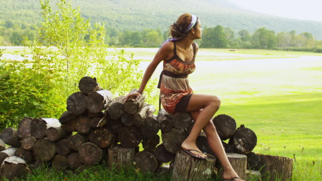 ws young woman sitting on pile of logs / manchester, vermont, usa - manchester vermont stock videos & royalty-free footage