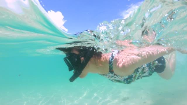 vídeos y material grabado en eventos de stock de young woman snorkeling in ocean - gafas de natación