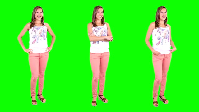 junge frau spinning.   leger.   chroma key.   3 in 1. - full length stock-videos und b-roll-filmmaterial
