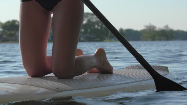 vídeos de stock e filmes b-roll de a young woman stand-up paddleboarding on her knees on a lake. - ajoelhar