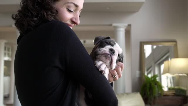 stockvideo's en b-roll-footage met young woman stroking her puppy in a living room - alleen één mid volwassen vrouw