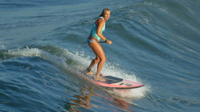 vidéos et rushes de a young woman sup surfing in a bikini on a stand-up paddleboard surfboard. - une seule femme d'âge mûr