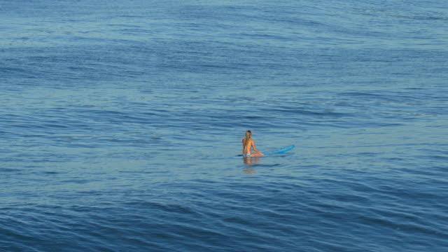 vídeos y material grabado en eventos de stock de a young woman surfing in a bikini on a longboard surfboard. - surf en longobard