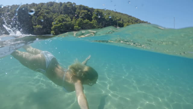 日当たりの良い海、アドリア海、クロアチアで水中を泳ぐms若い女性 - 水中カメラ点の映像素材/bロール