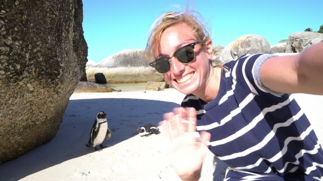 Young woman taking selfie portrait with African penguins