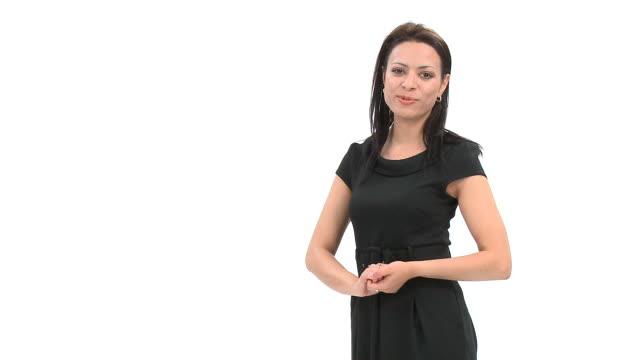 hd: junge frau reden - moderator stock-videos und b-roll-filmmaterial