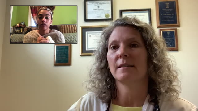 cu young woman teleconferences with her physician - cat family stock videos & royalty-free footage