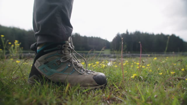 vídeos de stock e filmes b-roll de young woman tourist taking photos in the blooming wildflower fields near a mountain lake. wanderlust. close up of tourist shoes walking. - eco tourism