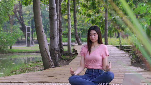 junge frau benutzt laptop und meditiert im park - nur junge frauen stock-videos und b-roll-filmmaterial