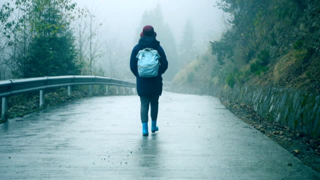 vídeos de stock e filmes b-roll de young woman walking on foggy road lonely - mochila saco