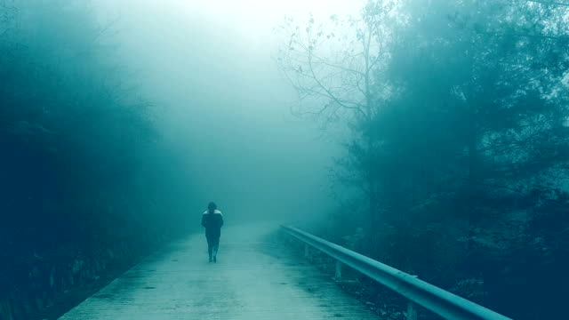 young woman walking on foggy road lonely - woodland stock videos & royalty-free footage