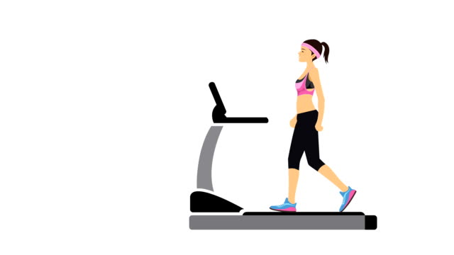 Young Woman Walking On Treadmill Illustrative Cinemagraph Style