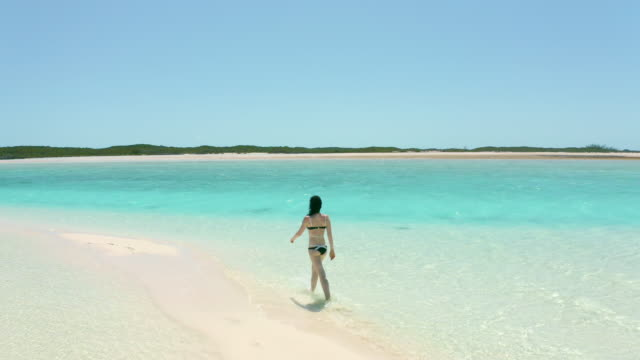 young woman walking on tropical beach - bahamas stock videos & royalty-free footage