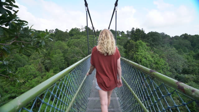 TS RV young woman walking over a suspension bridge