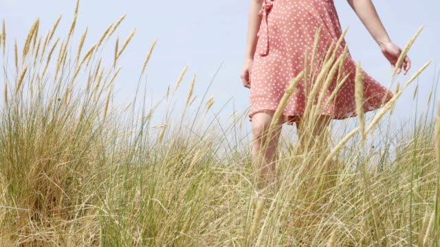 Young woman walking through beachgrass or Marram grass. SM