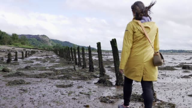 young woman walking through the marshes with a yellow raincoat and the photo camera in her hand - scotland stock videos & royalty-free footage