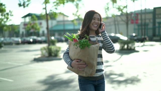 ms ts young woman walking to her car holding a shopping bag while talking on the phone - paper bag stock videos & royalty-free footage