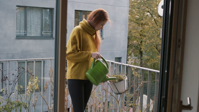 young woman watering plants on balcony - young women stock-videos und b-roll-filmmaterial