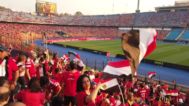 vidéos et rushes de a young woman waves an egypt flag before the 2019 african cup of nations group a match between egypt and uganda at cairo international stadium on... - ambiance format raw