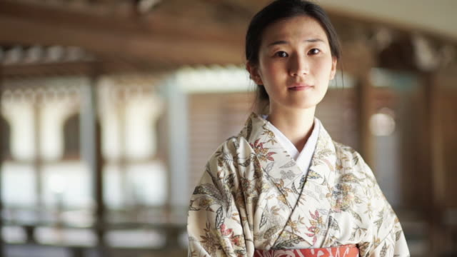 young woman wearing kimono - kimono stock videos & royalty-free footage