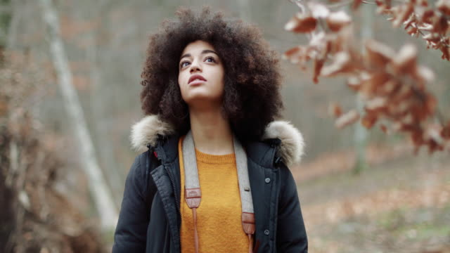 young woman with afro hairstyle exploring the woods - lost stock videos & royalty-free footage