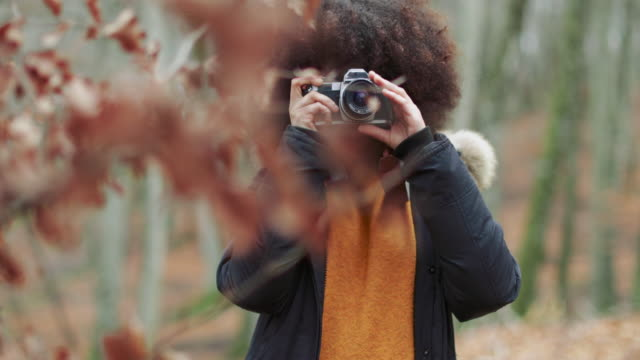 young woman with afro hairstyle taking photos in the woods - unfashionable stock videos & royalty-free footage