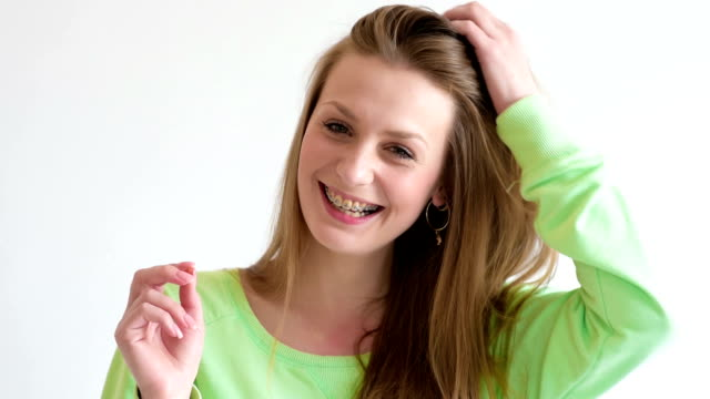 Young woman with dental braces