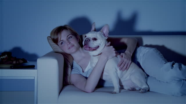 ms, young woman with dog lying on sofa, watching tv - sdraiato video stock e b–roll