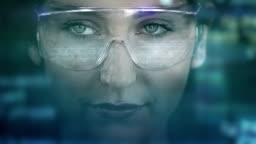 Young woman with holographic glasses. Futuristic. Virtual reality. Dark.