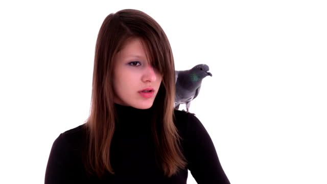 stockvideo's en b-roll-footage met young woman with pigeon - coltrui