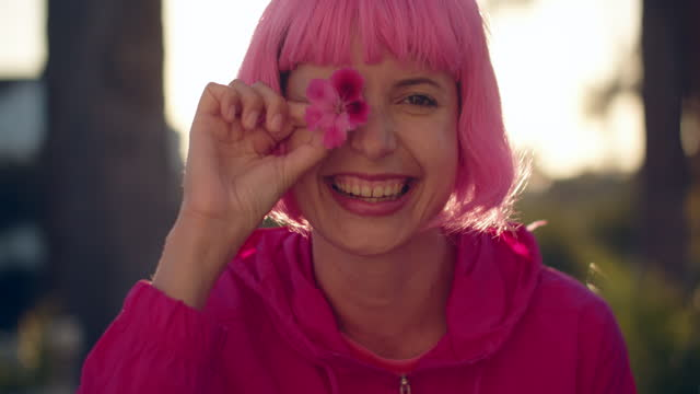 cu young woman with pink hair having fun - cool attitude stock videos & royalty-free footage